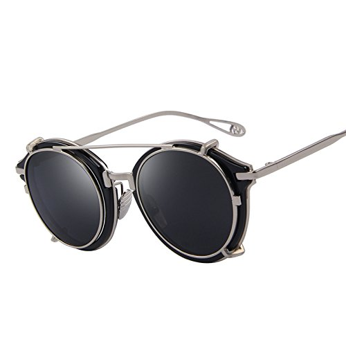 Clip on Sunglasses Flip Separable Lens Mirror lens/Clear lens Vintage Glasses - Ban Black Clear And Wayfarer Ray