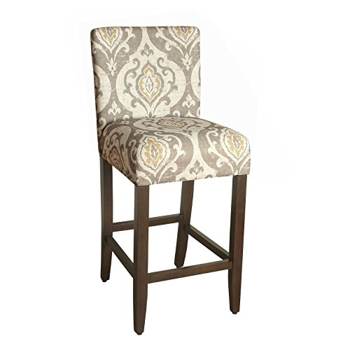 HomePop Upholstered Counter Height Barstool, 29-Inch, Taupe and Cream