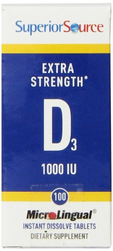 Superior Source Extra Strength Vitamin D3 1,000 IU Tablet, 100 Count (1000 Tablets)