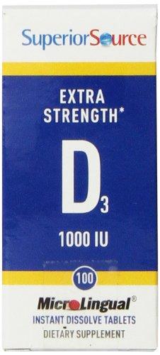 Iu 100 Tabs (Superior Source Extra Strength Vitamin D3 1,000 IU Tablet, 100 Count)