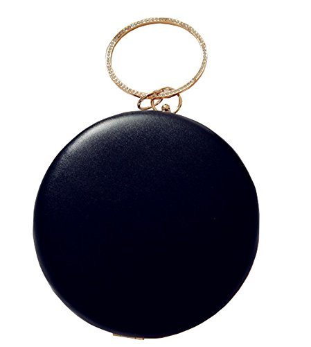 Missfiona Womens Round Clutch Evening Handbag Jeweled Ring Top-handle Party Bag(Black PU) - Circle Handle