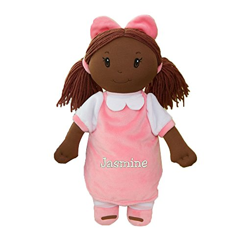 GiftsForYouNow Plush Embroidered Little Darlings Personalized Baby Doll, Dark Skin -