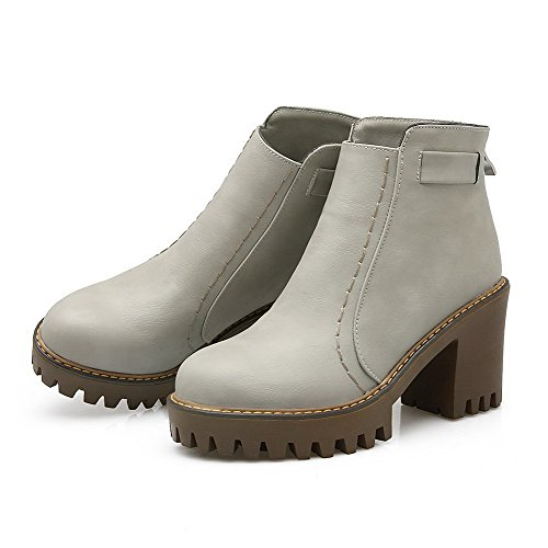 Allhqfashion Women's Solid High Heels Round Closed Toe PU Zipper Boots Gray 3jalKKjba
