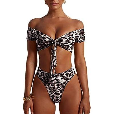 PRETTYGARDEN Women's Two Pieces Leopard Print Knot Front Crop Off-Shoulder High Cut Bandeau Bikini Sets Bathing Suit: Clothing