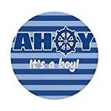 Polyester Round Tablecloth,Ahoy Its a Boy,Baby Shower New Birth Announcement Marine Wheel Striped Backdrop,Light Blue Blue White,Dining Room Kitchen Picnic Table Cloth Cover Outdoor Indoor