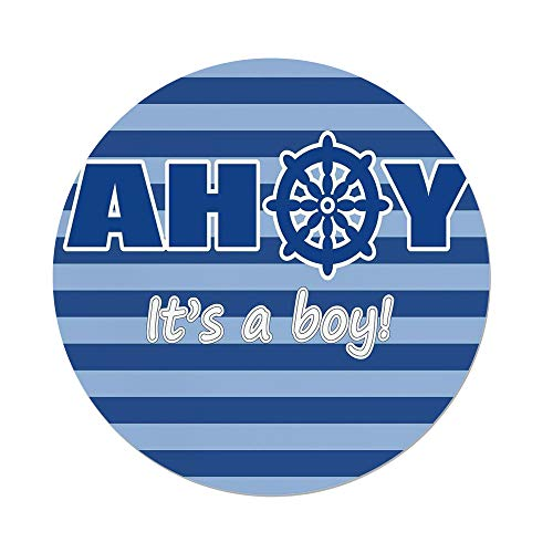Polyester Round Tablecloth,Ahoy Its a Boy,Baby Shower New Birth Announcement Marine Wheel Striped Backdrop,Light Blue Blue White,Dining Room Kitchen Picnic Table Cloth Cover Outdoor Indoor by iPrint