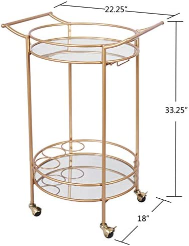 Bar Cart with 2 Mirrored Shelves, Durable Wine Cart with Casters, Suitable for Kitchen, Club, Living Room, Antique Gold Finish 22x18x33inch