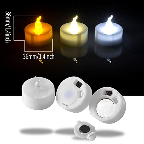AGPtEK Tea Lights,100 Pack Flameless LED Candles Battery Operated Tealight Candles No Flicker Long Lasting Tealight for Wedding Holiday Party Home Decoration(Warm White) by AGPTEK (Image #5)