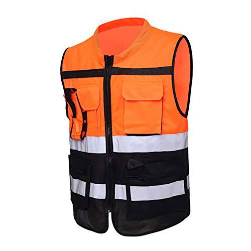 BFQY FH Chaleco Reflectante, Visibilidad Multibolsillo Seguridad De Tráfico Alta/Equitación / Saneamiento/Construcción /...