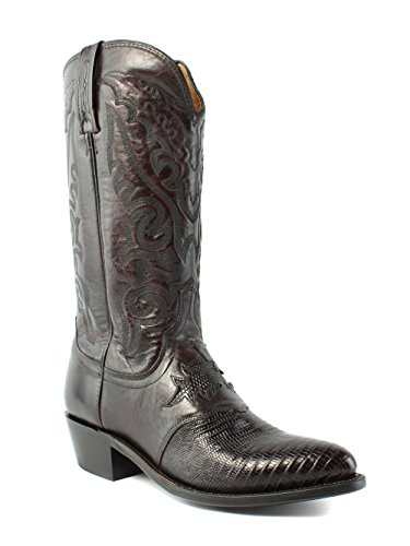 Lucchese M2901.J4 Silas Mens Black Cherry Lizard Leather Cowboy Boots 8 D (Lucchese Lizard Boots)