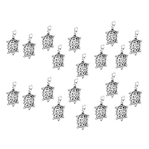 Fityle 20 Pieces Animal Turtle Sea Creatures Pendant Beads for Necklace Earring Dangle Tortoise DIY Findings (Turtle Earrings Charm)