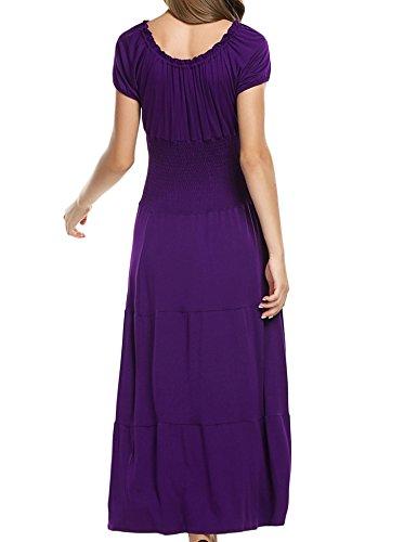 cooshional Vestido plisado de manga corta vestido largo elástico de color sólido para las mujeres Morado
