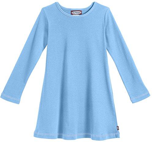City Threads Girls' Cotton Long Sleeve Dress for School Party Dress Play Base Layer for Sensitive Skin SPD Sensory Friendly, Bright Light Blue, 14