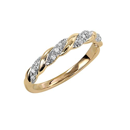 Brilliant Expressions 10K Yellow Gold 0.06 Cttw Conflict Free Diamond-Accented Twist Wedding or Anniversary Band (I-J Color, I2-I3 Clarity), Size 7