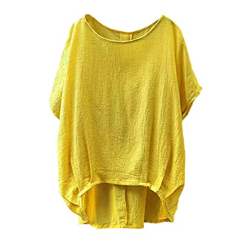 Cardigo for Women Lady Linen Solid T-Shirt Casual Plain Loose Blouse Shirt Asymmetrical Tops