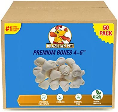 4-5 Inch Premium Dog Bones Chewing Dog Treat Made with The Best Rawhide 100 Natural, No Additives, Chemicals or Hormones Natural Grass Fed in South America – USDA FDA Approved