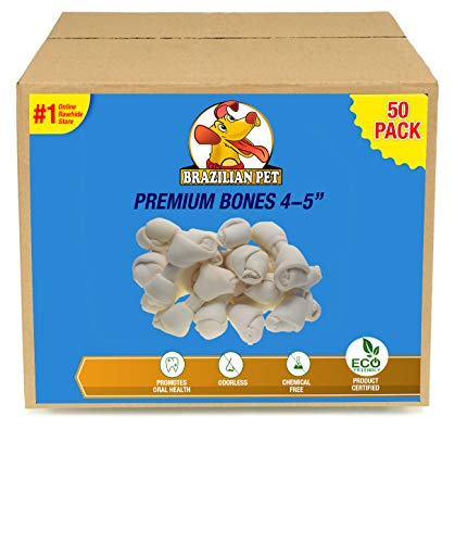 Brazilian Pet 4-5 Inch Premium Dog Bones -Chewing Dog Treat Made with The Best Rawhide 100% Natural - No Additives, Chemicals or Hormones - Natural Grass Fed in South America - USDA/FDA Approved