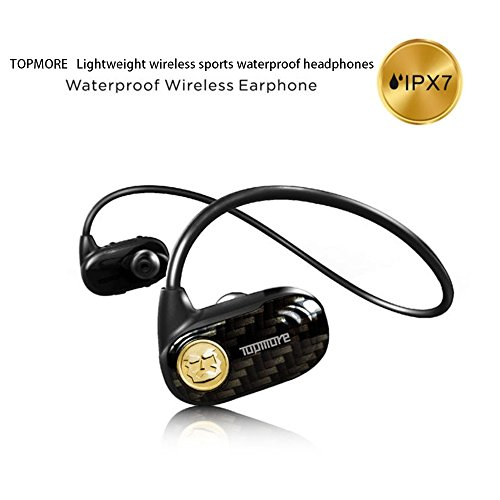 Topmore Infinity Negro IPX7 Waterproof Bluetooth Headset Wireless Sport Headphones w/ Microphone, Built-in Memory (8GB), Swimming, Running Earbuds Earphones for Bluetooth 4.2 Apple iPhone, Andriod, PC