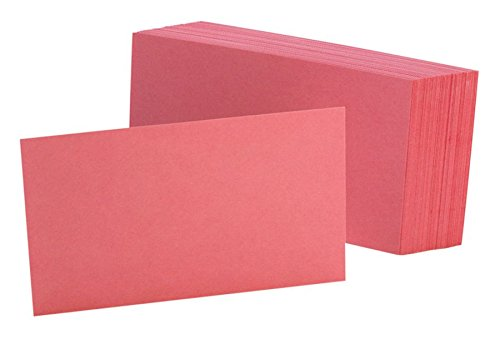 "Oxford Color Index Cards, Unruled, 3"" x 5"", Cherry, Pack Of 100"