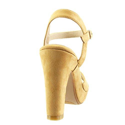 Angkorly - Zapatillas de Moda Sandalias Tacón escarpín zapatillas de plataforma sexy mujer tanga Hebilla Talón Tacón ancho alto 10.5 CM - Camel
