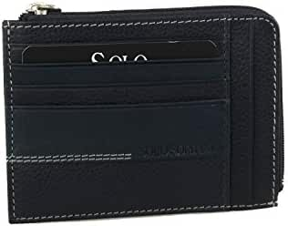 Wallet man SOLO SOPRANI blue in leather pocket with zip credit cards A5621