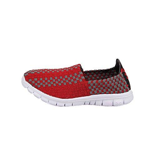 Transpirables Qansi Para Multicolores Caminar Cordones Deportivos Zapatos Sin Mocasines Tejidos Ligeras Rojo Zapatillas 6f6xqTr