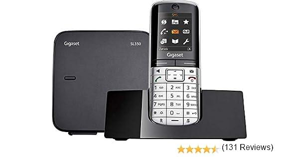 Gigaset SL350 - Teléfono (Teléfono DECT, Terminal inalámbrico, 500 entradas, Negro, Plata): Amazon.es: Electrónica