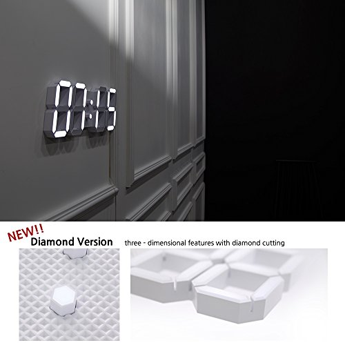 - ROIRETNI Diamond White Modern Smart LED Digital Wall Clock (2018 New Version) with Thermometer, Calendar, Alarm, Countdown, Timer (Wiring Length 10.8ft)