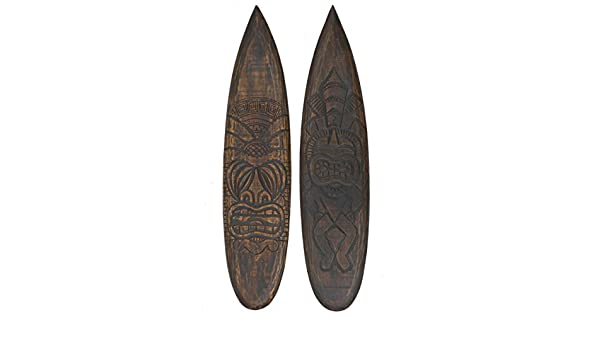 2 Tiki Deko Tablas de surf de madera 100 cm estilo Hawaii Maui Deko Surf Tabla de Surf: Amazon.es: Hogar