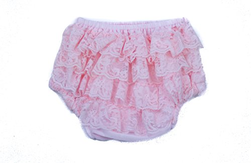 The Hair Bow Company Girls Baby & Toddler Layered Lace Diaper Cover Bloomers Light Pink Small for 0-9m