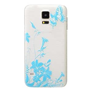 PEACH- Blue Butterfly Pattern PC Brushed Hard Case for Samsung Galaxy S5 I9600
