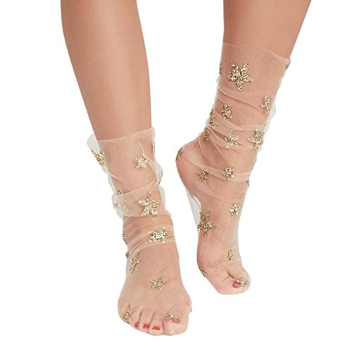 Glitter Jelly - Inkach Women Glitter Star Mesh Socks - Trendy Girls Transparent Elastic Sheer Ankle Sock (Beige)