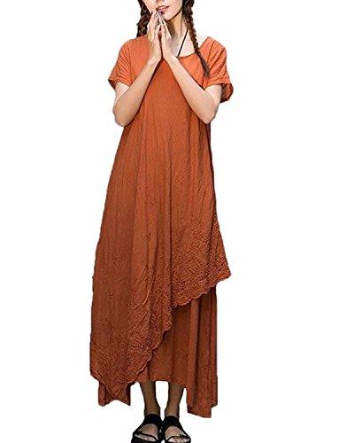 ZANZEA Womens Vintage Round Neck Two-layer Short Sleeve Cotton Linen Maxi Dress