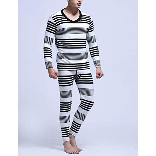Warm Mens Invierno Capas Thermal Negro Ropa Cotton Cami Underwear Base Set Stripe q7tz6W6H