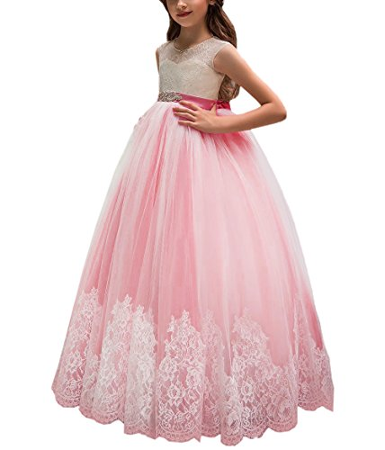 Flower Girl Dress for Wedding Kids Lace Pageant Ball Gowns (Size 6, Coral Pink) - Pageant Wedding Gown Prom