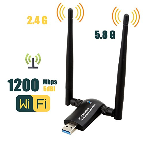 1200Mbps Wireless USB Wifi Adapter, ZTESY Wifi Adapter,AC1200 Dual Band 802.11 ac/a/b/g/n,2.4GHz/300Mbps 5GHz/867Mbps High Gain Dual 2 X 5dBi Antennas Network WiFi USB 3.0 For Desktop, Laptop of Windo by ZTESY