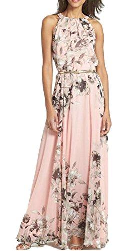 Long Beach Sleeveless Print Womens Cruiize Pink Chiffon Floral Dress Casual WP7cnp