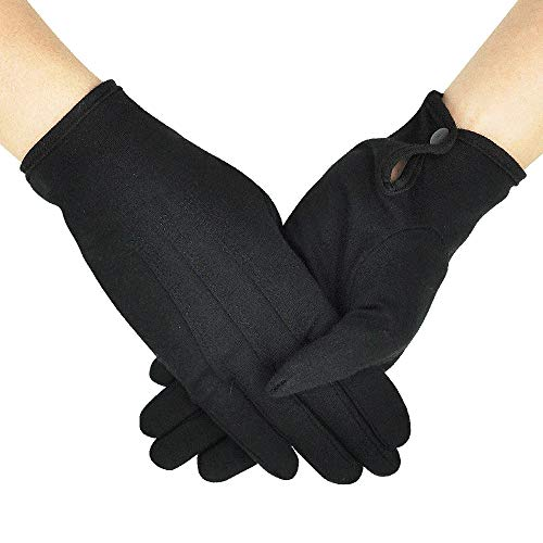 Parade Gloves Black Cotton Formal Tuxedo Costume Honor Guard Gloves with Snap Cuff, Coin Jewelry Silver Inspection Gloves 1 Pair -