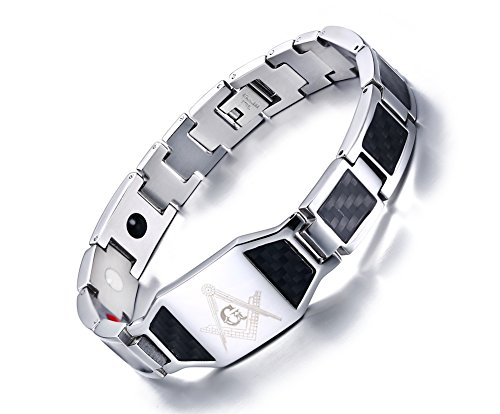 MP Men's Stainless Steel Carbon Fiber Free Mason 4 in 1 Magnetic Therapy Healing Masonic Bracelet - 12 Masters Retro Fake