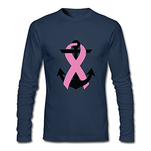 (Jidfnjg Anchored in Hope Pink Ribbon Perfect Round Neck Long Sleeve Fall Wear T-Shirt.)