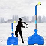 AKOZLIN Tennis Equipment,Tennis Ball Trainer,Practice Training Tool Sport Exercise,Tennis Base with A Retractable Iron and Tennis Rebound Player with Trainer Baseboard + 2 Training Ball