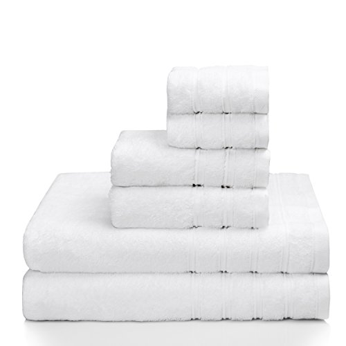 PROMIC 100% Cotton Luxury Hotel & Spa Bath Towel Set, 6 Piece Includes 2 Bath Towels, 2 Hand Towels, and 2 Washcloths – 500GSM, Highly Absorbent and Softness, Fade-resistant, White (Towel White Bath Set)