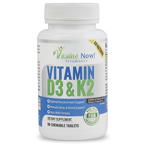 Best Vitamin D3 2000 IU + K2 - Optimized Absorption in Best Form MK7 for Strong Bones & Healthy Heart - All Natural - Cherry Flavor - Non-GMO - 90 Chewable Tablets - 3 Month Supply! (Strong Healthy Bones)