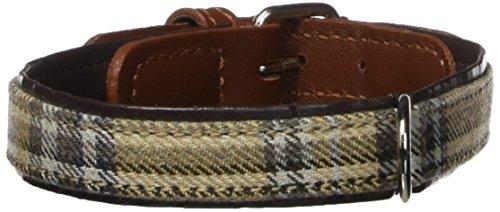 Petego La Cinopelca Cheri' Italian Leather Collar in Brown and Tartan Fabric, Small, 15 Inches