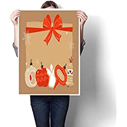 """canvas print wall art Hand drawn vector abstract Merry Christmas and Happy New Year time cartoon illustrations greeting header template with xmas Decorative Fine Art canvas Print Poster K 32""""x L 48"""""""