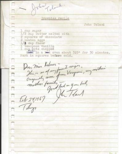 John Toland Author Signed 1967 Letter & Brownies Recipe