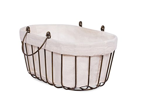 BIRDROCK HOME Mini Wire Basket with Liner | Oval | Modern Age | Removable Liner | Decorative Laundry Accessories Holder | Mini Basket Organizer | Storage for Small Accessories