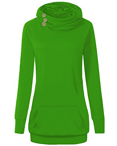 ARCITON Women's Sweatshirts Long Sleeve Button Cowl Neck Pullover With Pockets Green (Button Neck Jumper)