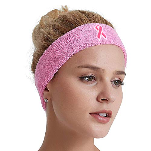 COOLOMG Stretchy Cotton Sport Breast Cancer Awareness Pink Ribbon Headband for Women, Teens, Girls. Perfect for Workouts, Yoga, Running, or Casual Wear Pink