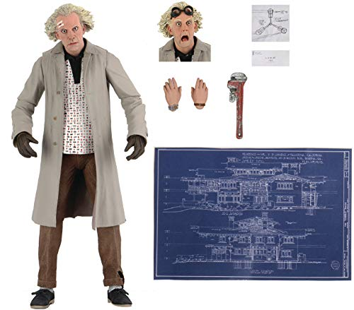 NECA Back to The Future Doc Brown Action Figure [Ultimate Version, Wrench, Flux Capacitor Drawing & Blueprint]